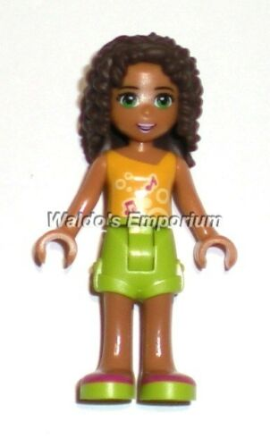 Lego Friends MiniFigure ANDREA 41097 Lime Green Shorts /& Orange Top New