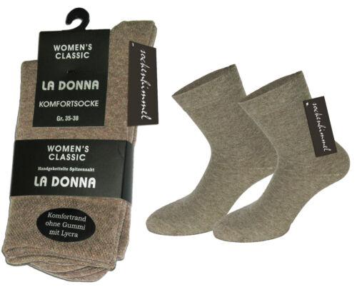 beige 39-42 6 Paar Damen Socken ohne Gummibund Baumwolle Diabetiker ohne Naht