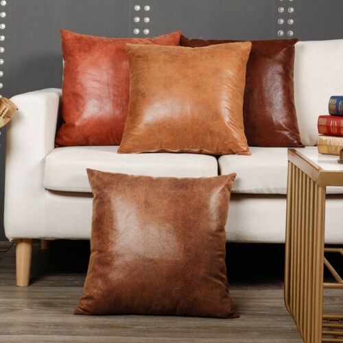 Faux PU Leather Pillow Case Cushion Cover Throw Sofa Bed Home Decor Retro Luxury
