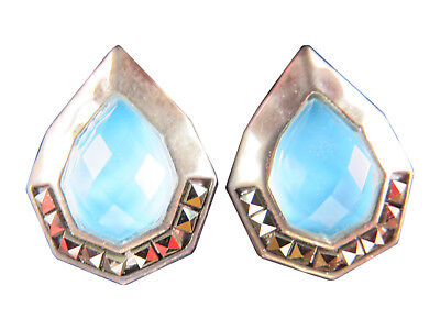 Judith Jack Sterling Silver Pierced Earrings Turquoise Blue Stone Marcasite 813g