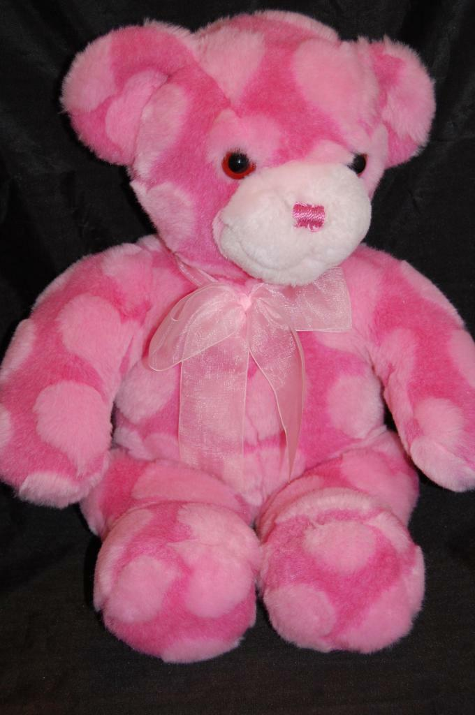 Teddy Bear Pink Heart Fuzzy  Lovey Commomwealth Plush 17