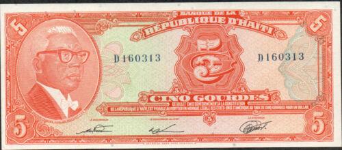 Haiti , 5 Gourdes , L. 17.8.1979 / 1980's , P 232 , Prefix D