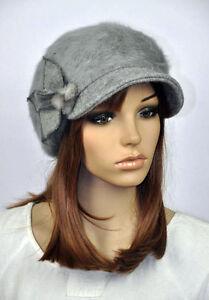 M82 Cute Rabbit Fur Wool Brim Hat Women s Winter Beanie Newsboy Cap ... b094a92fd75