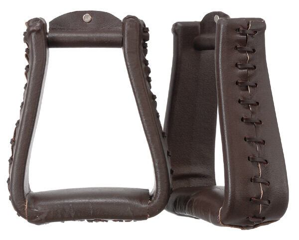 OverTailled Over Taille Extra Large XL Western Stirrups Dark Leather Wrapped