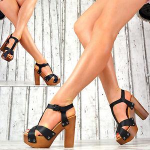 NUOVO-SCARPE-DONNA-DECOLLETE-legno-effetto-LOOK-zeppa-high-heels-sexy-Sandaletti