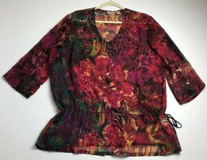 Chico-s-Women-Long-Sleeve-Blouse-Top-2-Large-Silk-Colorful-Floral-Abstract-Sheer