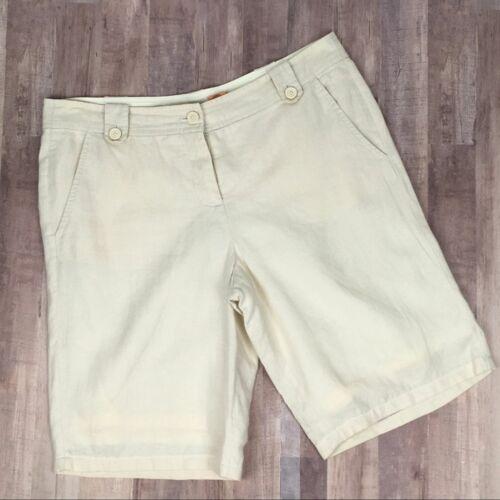 Tory Burch Cream Lined Linen Bermuda Shorts Size 8