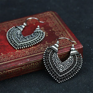 Retro-Silver-Women-039-s-Vintage-Fashion-Heart-Long-Earrings-Drop-Dangle-Jewellery