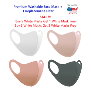 Fashion Washable Reusable Face Mask With Filter Pocket 1 Replacement Filter Ebay