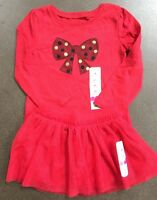 Girls 3t Christmas Outfit Sparkly Top Red Tulle Bow& Skirt Gold