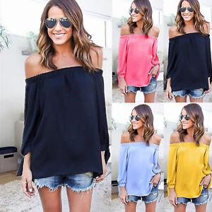 Mujer-Hombro-Descubierto-Sin-Tirantes-Chiffon-camiseta-blusa-manga-larga-BARDOT