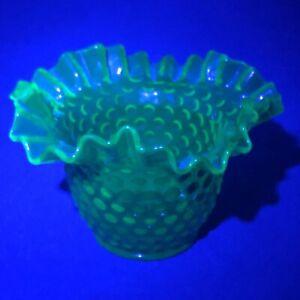 Fenton-Uranium-Glass-Ruffled-Hobnail-Rose-Bowl-Vase-USA-4-034-Tall-Green