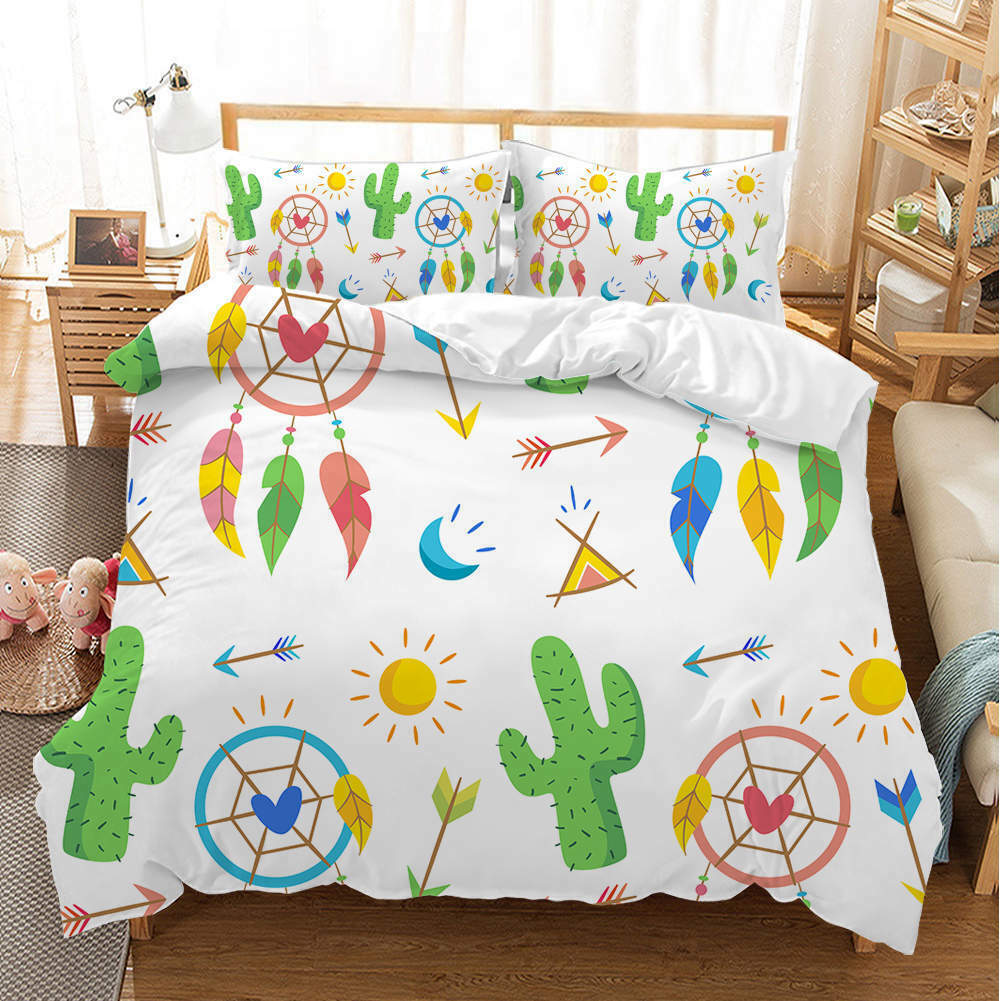 Great Grün Cactus 3D Quilt Duvet Doona Cover Set Single Double Queen King Print