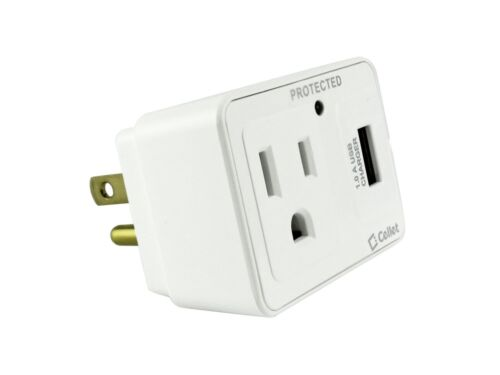 USB Port Surge Protector Travel Charge 1Amp Cellet Wall Outlet Plug with 5Watt