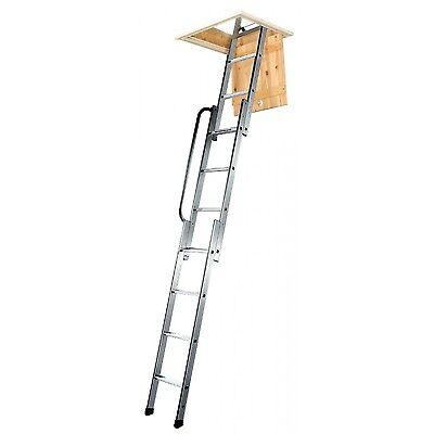 EN14975 Sliding Loft Access Ladder 3 Section Aluminium 3m Handrail 150kg Damaged