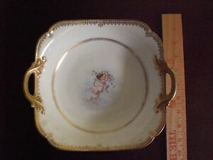 Antique-France-Limoges-D-amp-C-Porcelain-Serving-Bowl-Putti-Cherub-Handle-1895