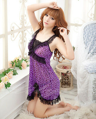 Purple Brown Leopard Lingerie Babydoll Dress Chemise Nighty M L XL 2XL