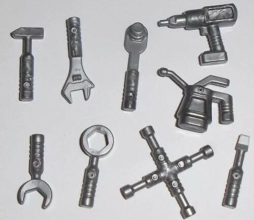multipack Lego City Mechanic Mini Figures Flat Silver 9 Tools Utensils In Bag