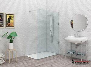 Box doccia a parete fissa minimal da design walk in vetro - Box doccia design minimale ...