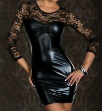Plus Size S-6XL black sexy Women Wetlook Vinyl PVC Mini Dress Bodycon Clubwear