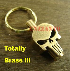 Brass Skull Zipper pull Lanyard bead Paracord beads key pendant Punker biker