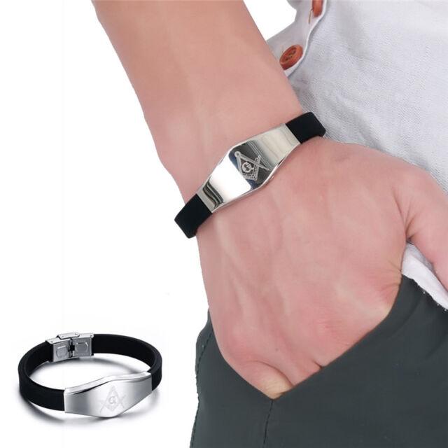 Stainless Steel Silicone Masonic Bracelet Wristband Freemason Knight Templar E&F