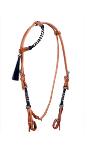 Western Natural Leather One Ear Style  Rawhide Braided Headstall with Tassel  wholesale price