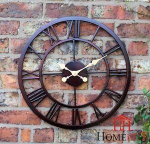 large outdoor garden wall clock big roman numerals giant. Black Bedroom Furniture Sets. Home Design Ideas