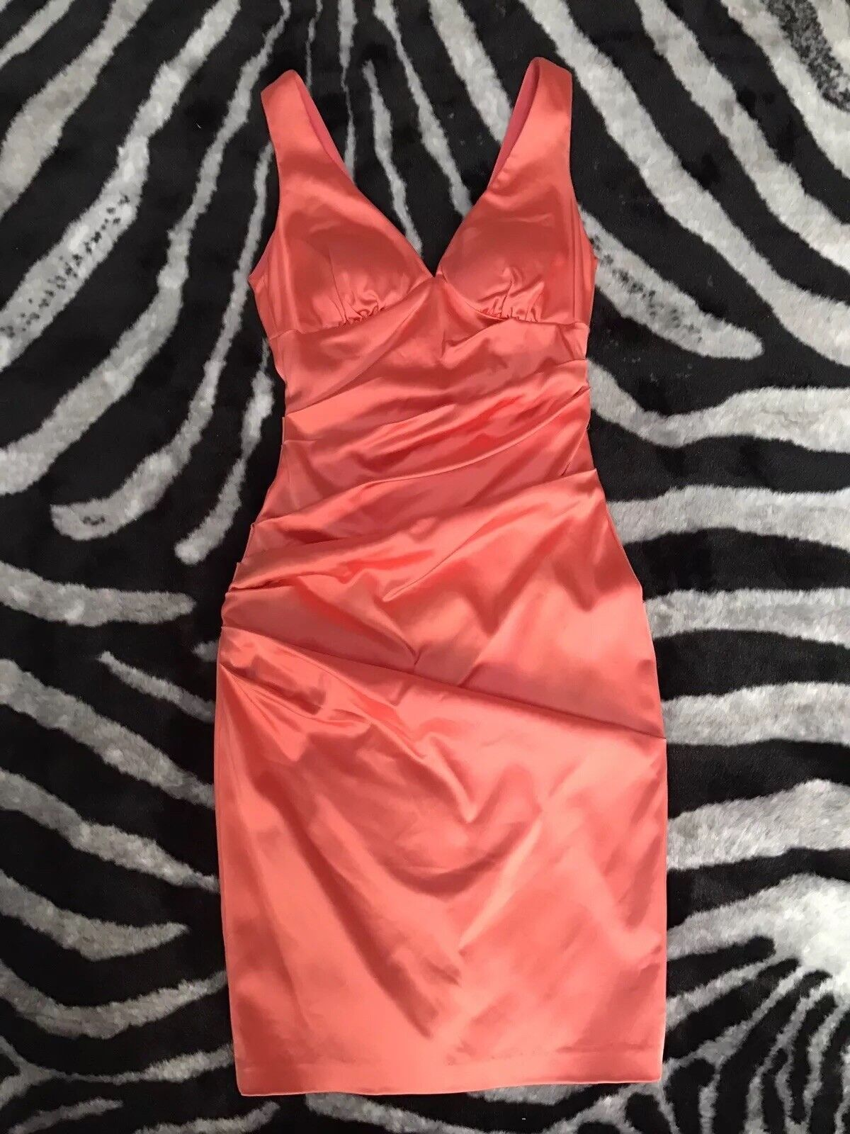HOT CORAL PROM SATIN DRESS CACHE SIZE 0
