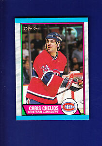 Chris-Chelios-HOF-1989-90-O-PEE-CHEE-OPC-Hockey-174-NM-Montreal-Canadiens