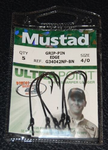 Mustad G34042NPBN-40 GRIP PIN Edge Straight Shank Bass Hooks Size 4//0 Pack of 5