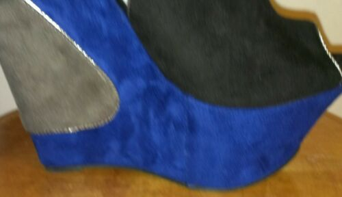 Blue Black and Gray Suede Wedge