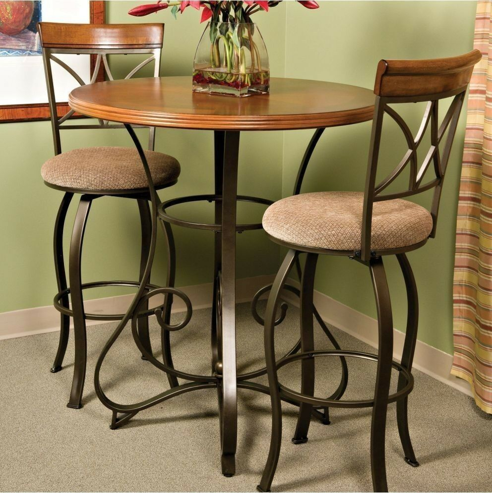 pub table bar counter height cherry wood bronze metal bistro kitchen furniture ebay. Black Bedroom Furniture Sets. Home Design Ideas