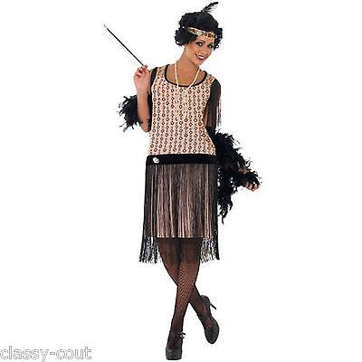 1920's Coco Flapper Fancy Dress Costume Set - 8,10,12,14,16,18 Plus Size