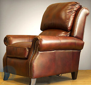 New Barcalounger Churchill II Genuine Art Burl Leather Recliner ...