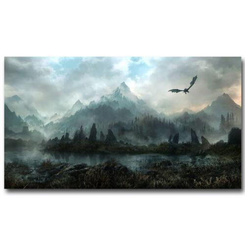 Dragon Fly on Mountain Lake Fantasy Landscape Art Silk Poster 13x20 24x36inch