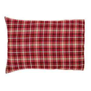 BRAXTON-Pillow-Case-Set-of-2-Red-Ebony-Natural-Plaid-Fabric-Rustic-Cotton-VHC