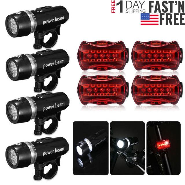 1//2//4 Set Bike Bicycle Rear Safety Flashlight Front Head Light Set 5 LED Lamp