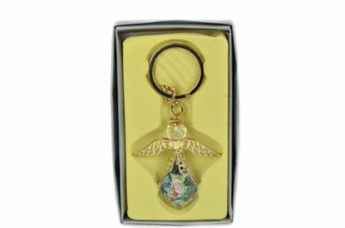 Keychain Glass Crystal Guardian Angel Figure Gift Box//Party Favors//Baptism Gift