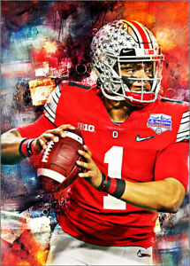 2020 Justin Fields Ohio State Football 16/25 Art ACEO Sketch Print Card By:Q