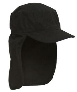 Black-Porter-Cadet-Foreign-Legion-GI-Flap-Cap-One-Size