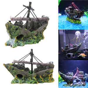 Nuova-decorazione-acquario-NAVE-galeone-RELITTO-SOMMERSO-realistico-12x8x5-cm