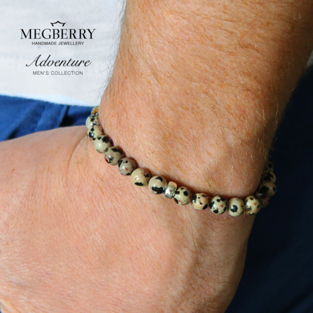 MEGBERRY® Mens Beaded Bracelet 925 Sterling Silver & Dalmatian Jasper Made in UK