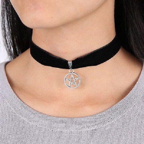 Black Velvet Gothic Witch Pentagram Pentacle Protection Amulet Choker Necklace