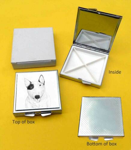 Bull Terrier Dog Polished Metal Square Pill Box with 4 compartments Gift