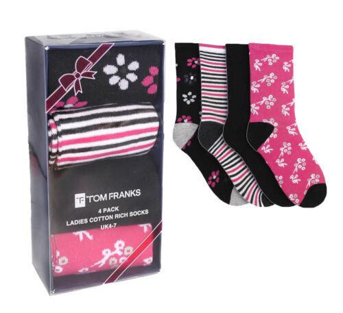 Ladies Pattern Design Cotton Rich Socks in Gift Pack