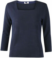 New Ladies Country Casuals Smart Navy Blue Ribbed Square Neck Top 8-18 RRP £32