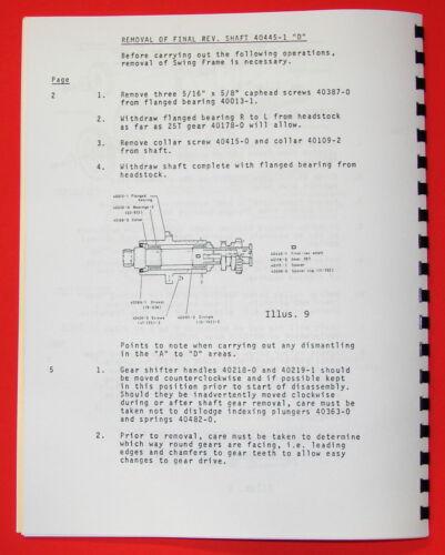 "CLAUSING Colchester 17/"" 8000 Series Metal Lathe SERVICE /& REPAIR Manual 1063"