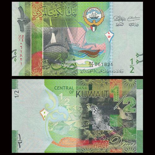 0.5 Dinar 2014 UNC Kuwait 1//2 P-30 New Lot 5 PCS