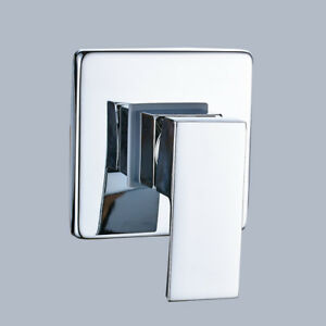 Chrome Shower Faucet Control Valve Square Plate Mixer Tap One Lever
